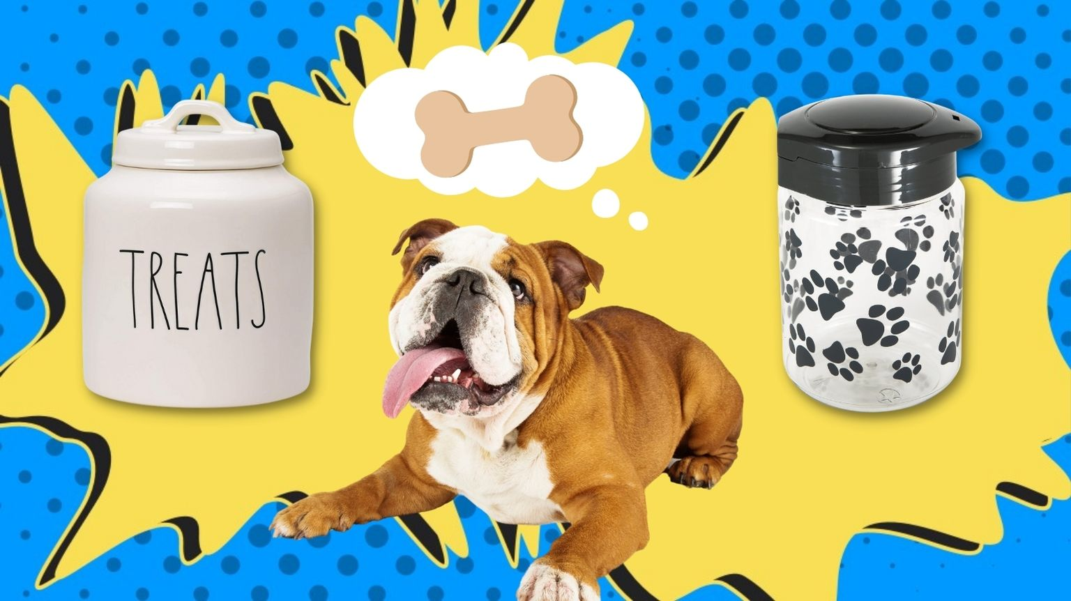 Bulldog surrounded by dog treat jars